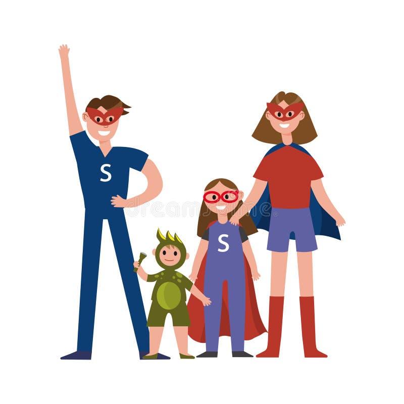 Familia de los personajes de dibujos animados de los super héroes, padres con sus niños en trajes de los super héroes que tienen  ilustración del vector