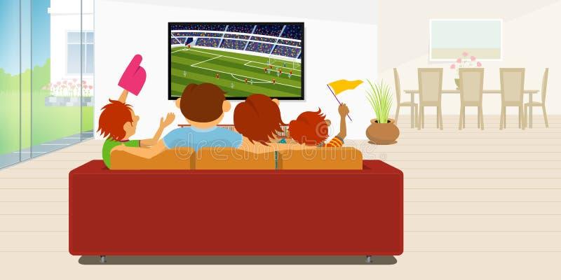 Familia de 4 miembros que se sientan en un sofá rojo en su sala de estar dentro de su casa que mira un juego de fútbol en una TV  stock de ilustración