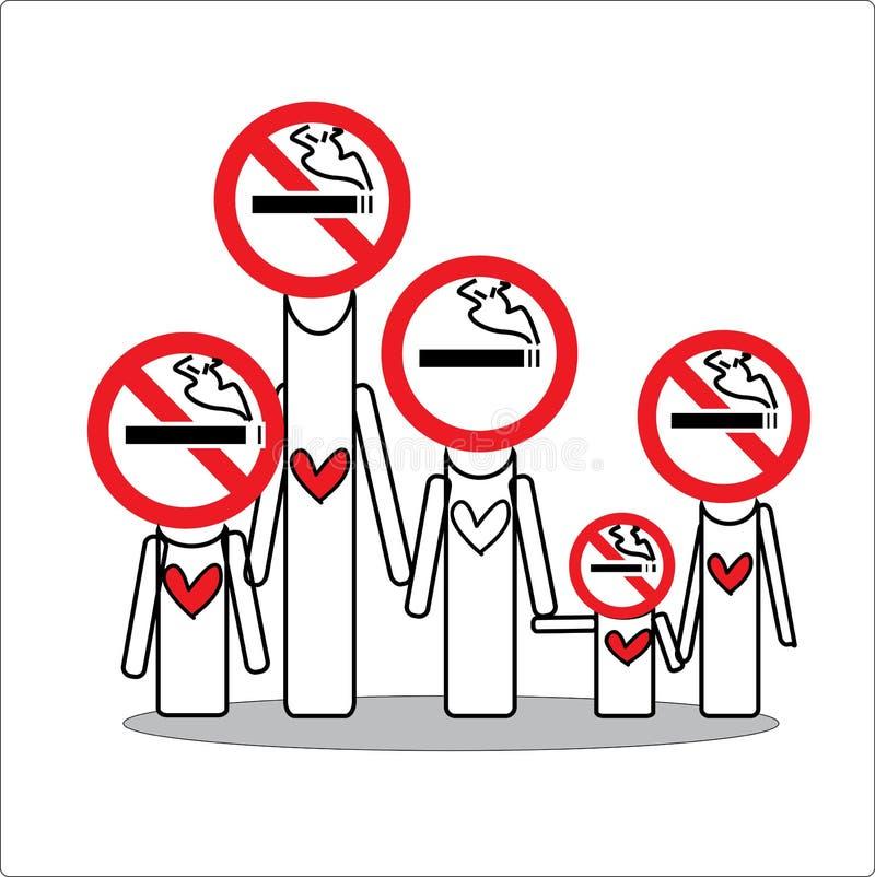 Familia de no fumadores para la esperanza usted fotografía de archivo