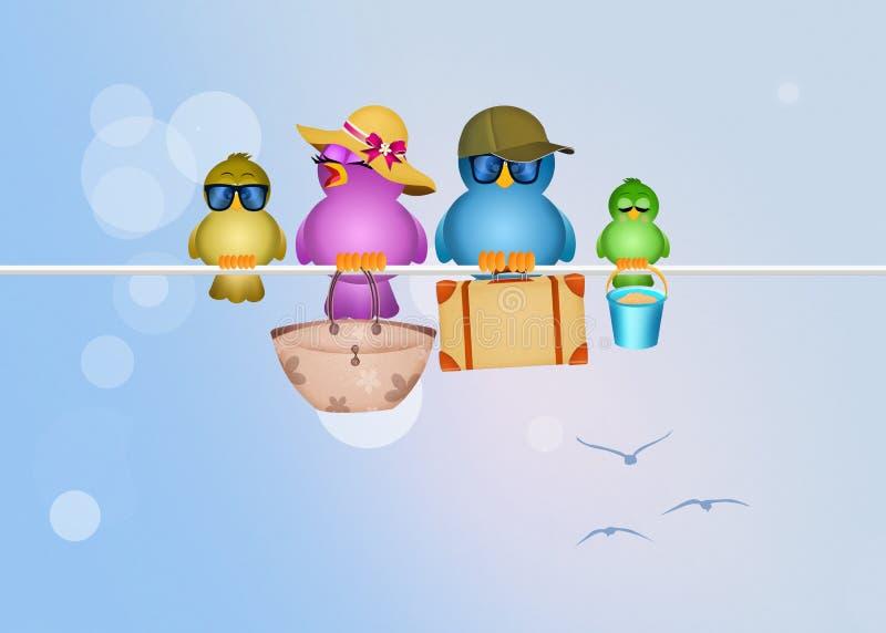 Familia de pájaros el vacaciones libre illustration