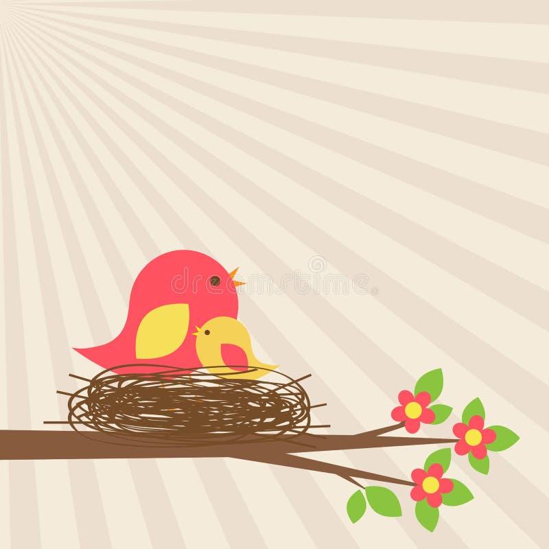 Familia de pájaros en jerarquía en rama floreciente ilustración del vector