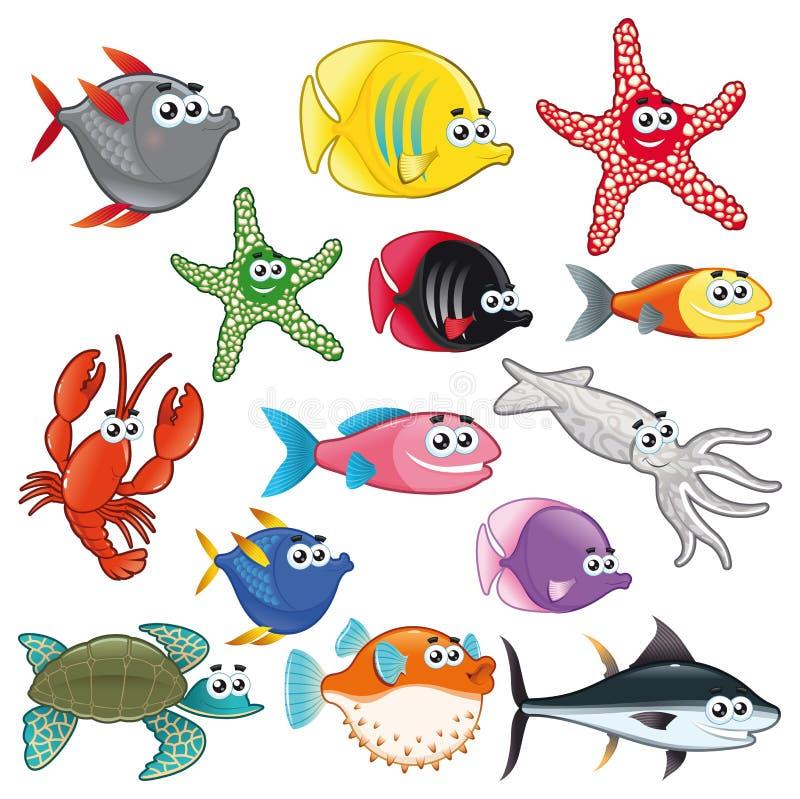 Familia de pescados divertidos. ilustración del vector