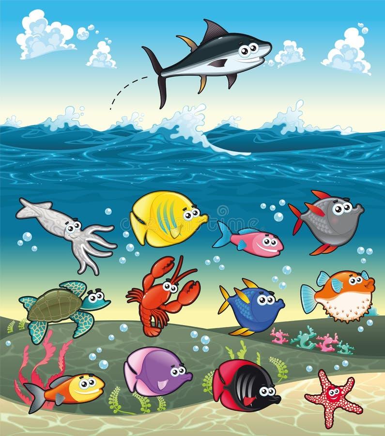 Familia de pescados divertidos bajo el mar. stock de ilustración