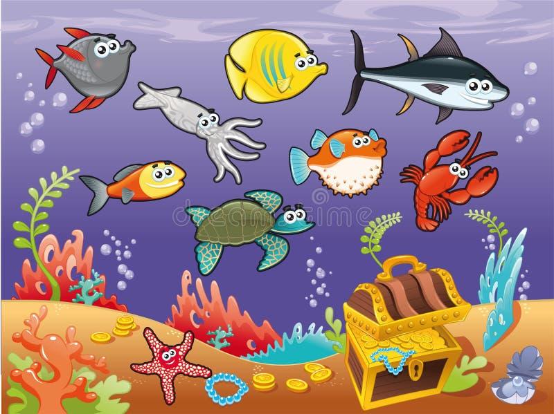 Familia de pescados divertidos bajo el mar. libre illustration