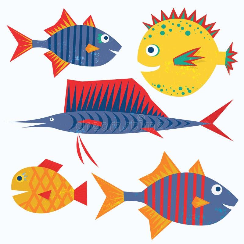 Familia de pescados divertidos. Caracteres aislados vector. stock de ilustración