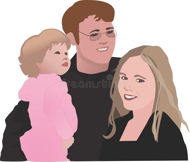 Familia de tres stock de ilustración