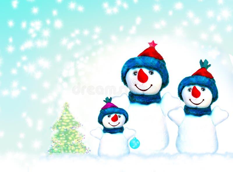 Familia de tres muñecos de nieve fotos de archivo