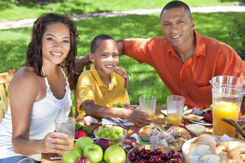 Familia del afroamericano que come el alimento afuera imágenes de archivo libres de regalías