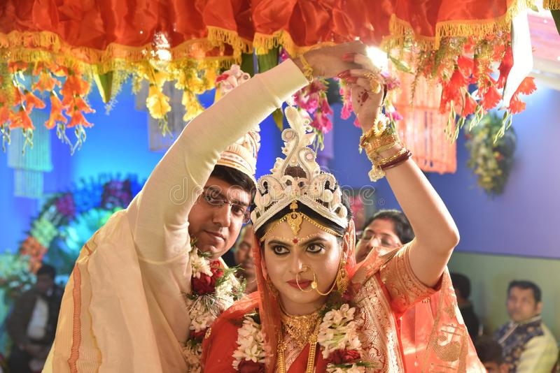 Familia del bengal? durante el matrimonio fotos de archivo