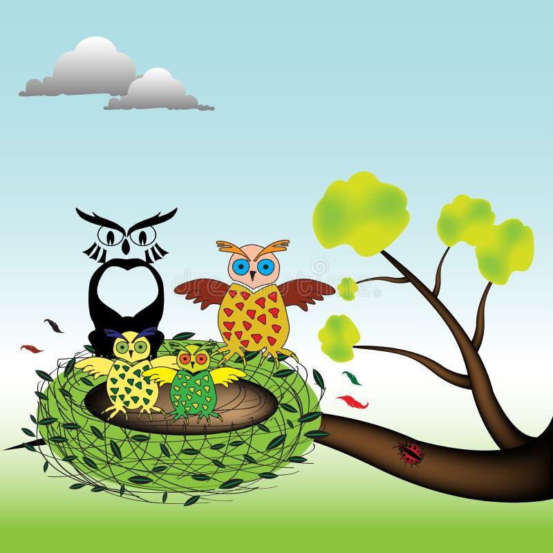 Familia del buho en una jerarquía ilustración del vector