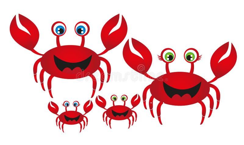 Familia del cangrejo stock de ilustración