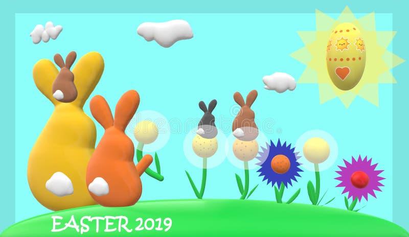 Familia del conejo de Pascua ilustración del vector