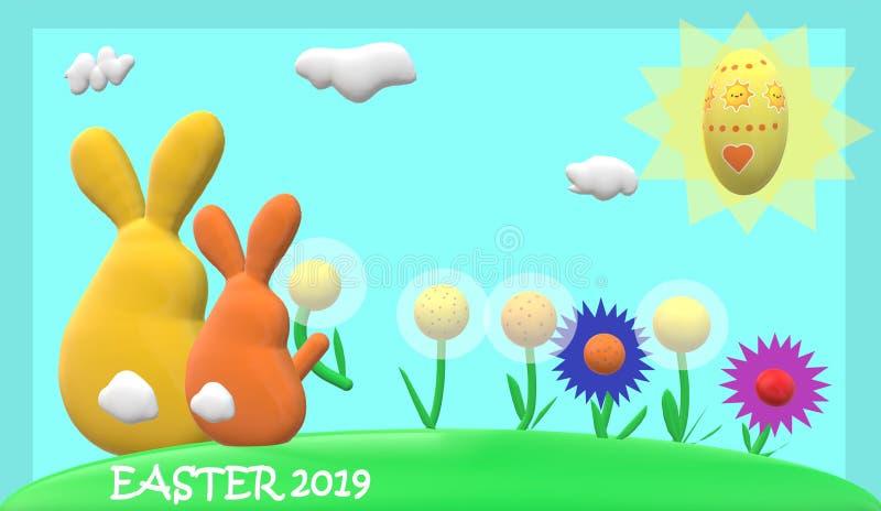 Familia del conejo de Pascua, flores, sol, huevo de Pascua con el marco azul del fondo azul claro y subtítulo de 'pascua 2019 ' libre illustration