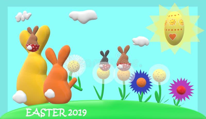 Familia del conejo de Pascua, flores, sol, huevo de Pascua con el marco azul del fondo azul claro y subtítulo de 'pascua 2019 ' stock de ilustración