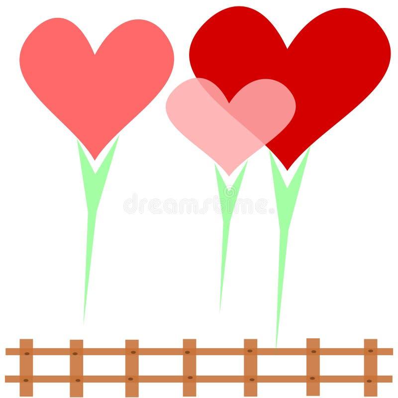 Familia del corazón, 3 corazones rodeados por el amor en un fondo blanco rodeado por una cerca marrón ilustración del vector