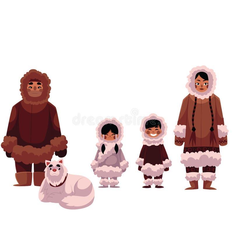 Familia del esquimal, del Inuit de padre, madre y niños con el perro ilustración del vector