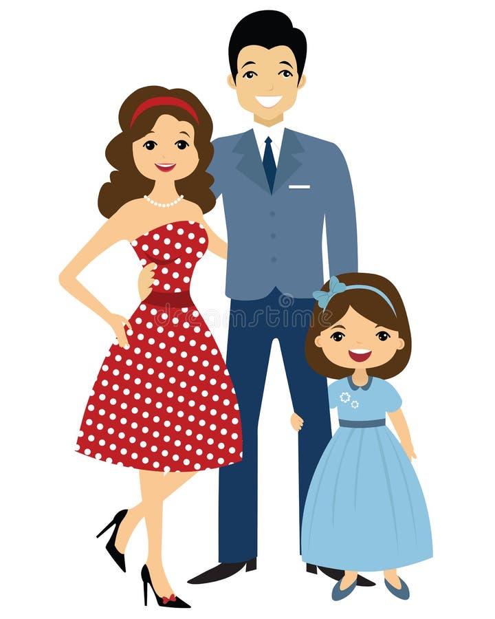 familia del estilo de 50 `s stock de ilustración