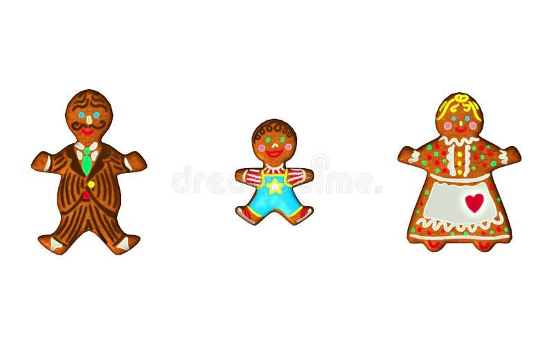 Familia del pan de jengibre ilustración del vector