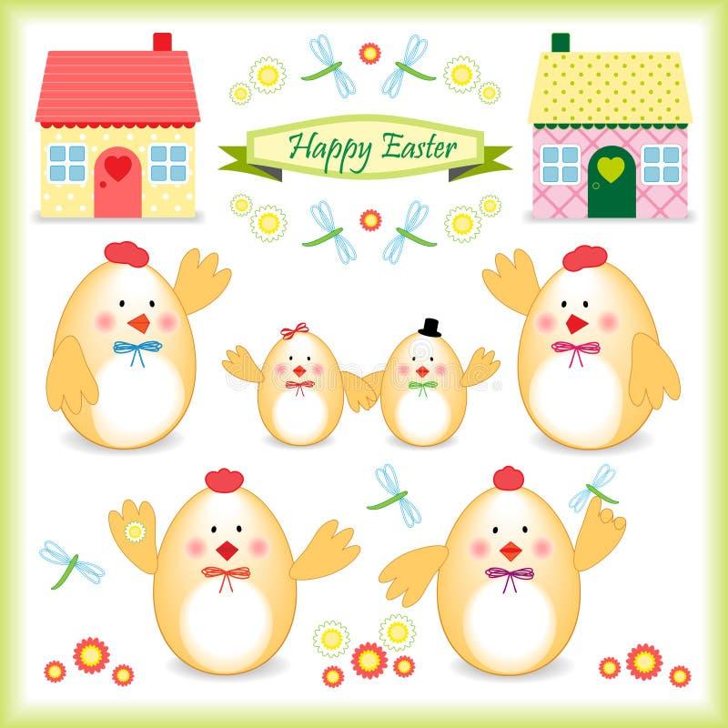 Familia del pollo de Pascua como huevos ilustración del vector
