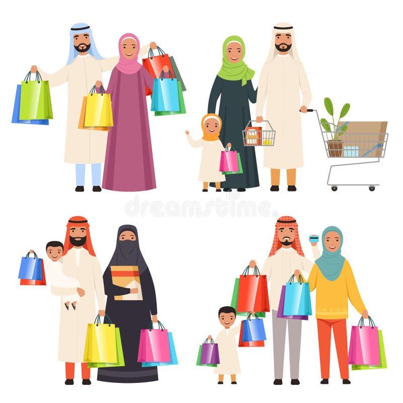 Familia del saudí Comercialice los caracteres masculinos y femeninos árabes shiopping sosteniendo bolsos en caracteres del vector stock de ilustración