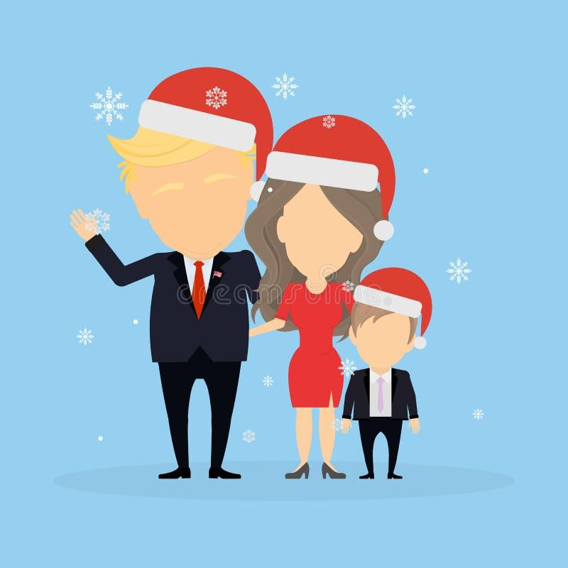 Familia del vagabundo en los sombreros de santa libre illustration