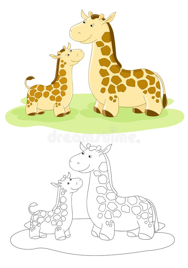 Familia del vector de jirafas libre illustration