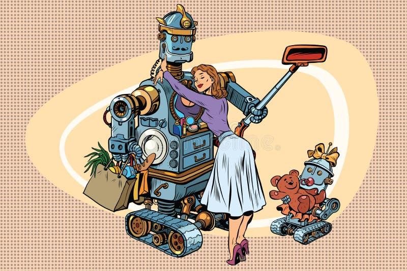 Familia del vintage, esposa del robot del papá y niño retros stock de ilustración