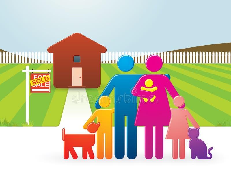 Familia delante de su nuevo hogar stock de ilustración