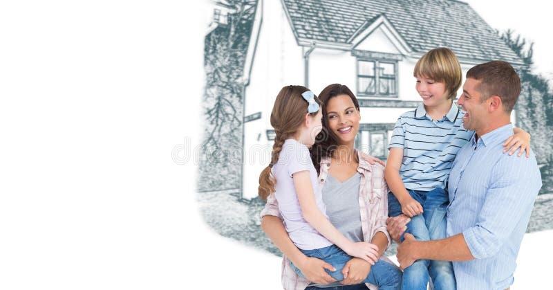 Familia delante del bosquejo del dibujo de la casa fotografía de archivo