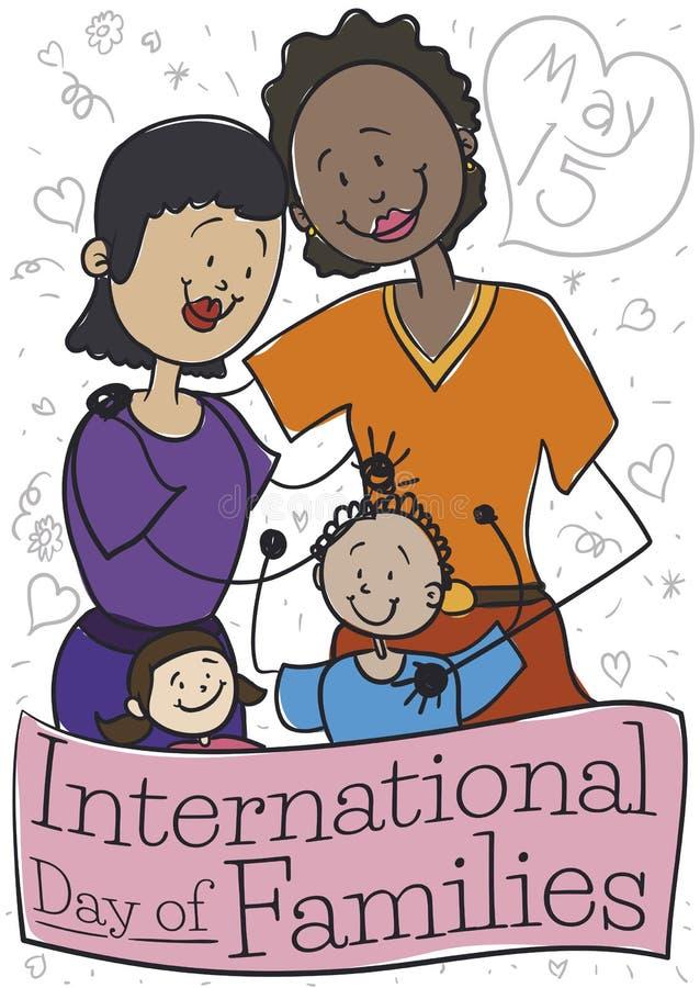 Familia diversa con dos mamáes que celebran el día internacional de familias, ejemplo del vector ilustración del vector