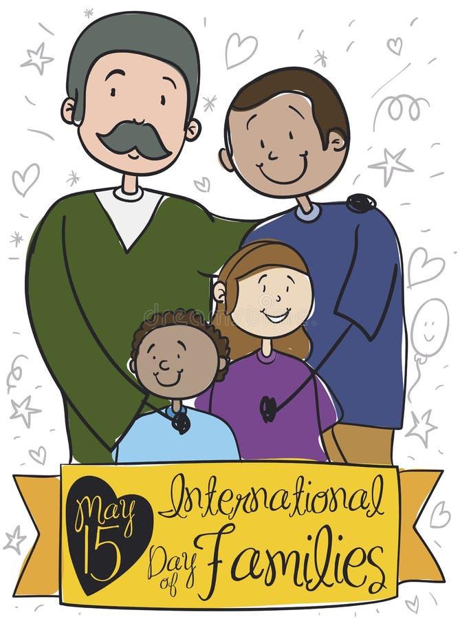 Familia diversa con dos papás que celebran el día de la familia, ejemplo del vector libre illustration