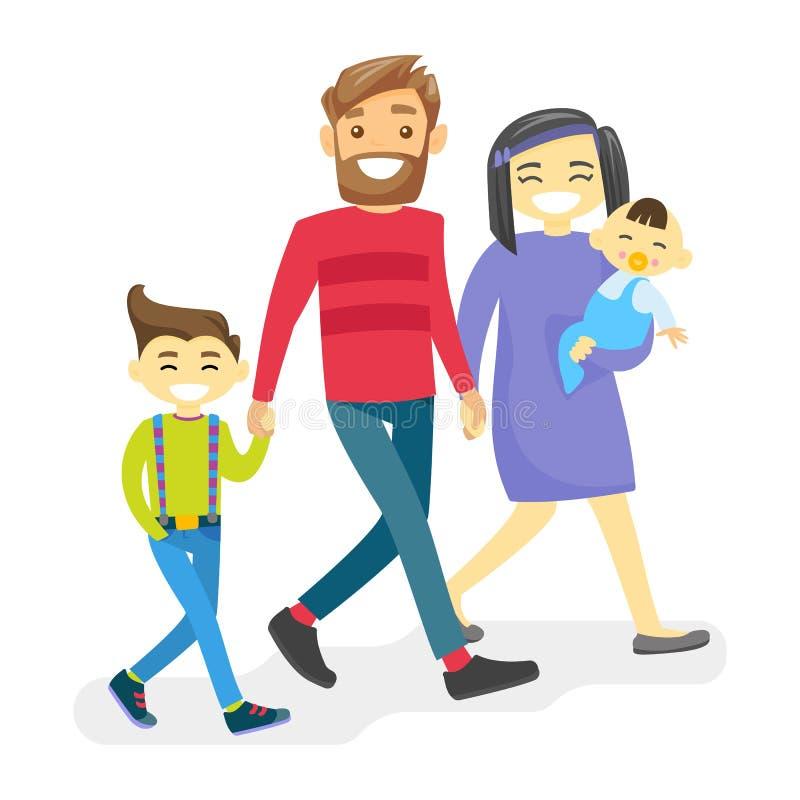 Familia diversa multiétnica alegre con los niños felices ilustración del vector