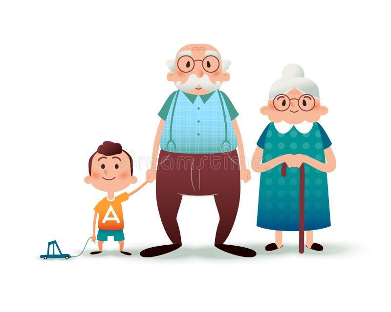 Familia divertida de la historieta Abuelo, grangmother y nieto felices Abuelo y niño pequeño que llevan a cabo las manos Familia  ilustración del vector