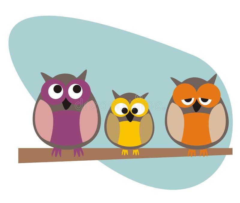 Familia divertida de los buhos del vector que se sienta en rama ilustración del vector