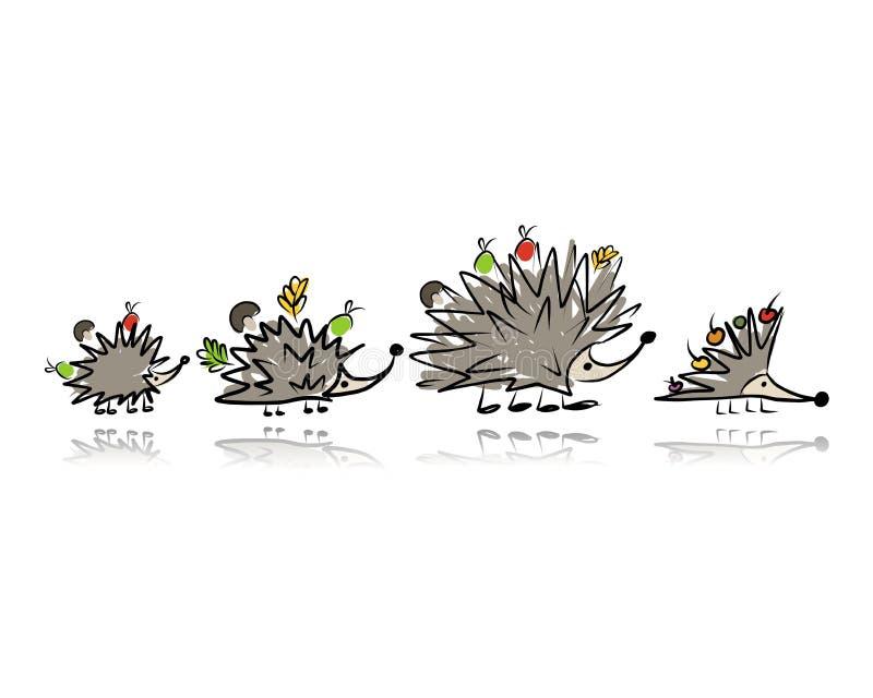 Familia divertida del erizo, bosquejo para su diseño ilustración del vector