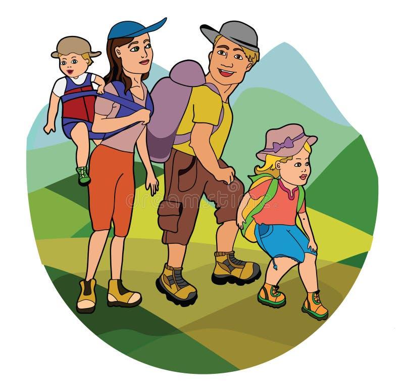 Familia en alza stock de ilustración