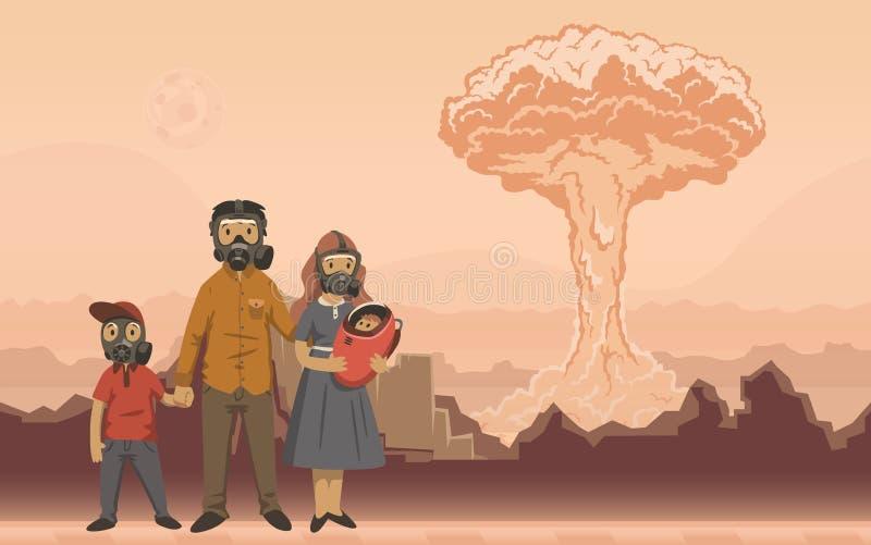 Familia en caretas antigás en fondo de la explosión nuclear Escena apocalíptica futurista Ejemplo plano del vector stock de ilustración
