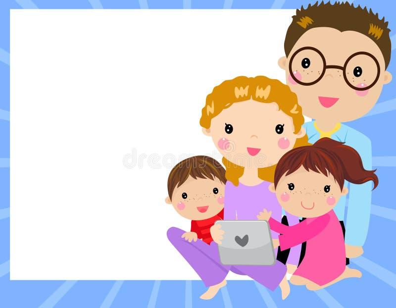 familia en casa que se divierte usando un ordenador de la tableta ilustración del vector