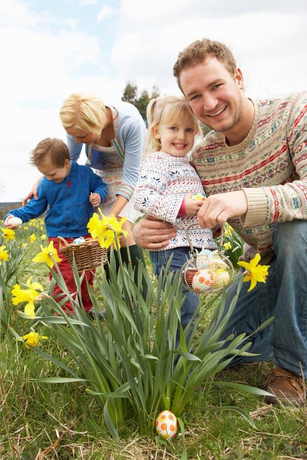 Familia en caza del huevo de Pascua en campo del narciso imagenes de archivo