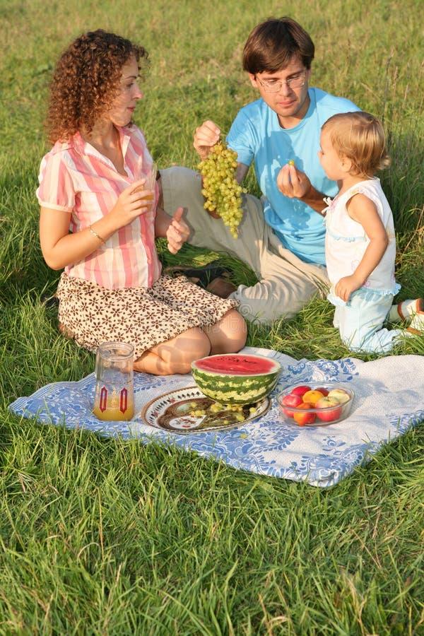 Familia en comida campestre imagenes de archivo