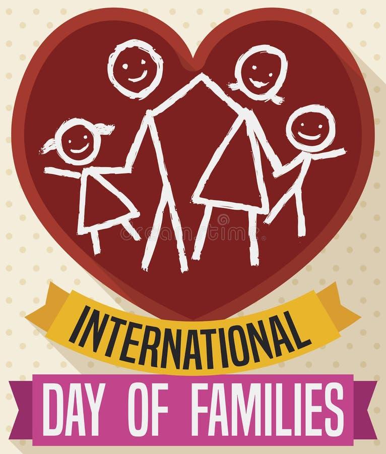 Familia en corazón y cintas que celebran el día internacional de familias, ejemplo del vector libre illustration