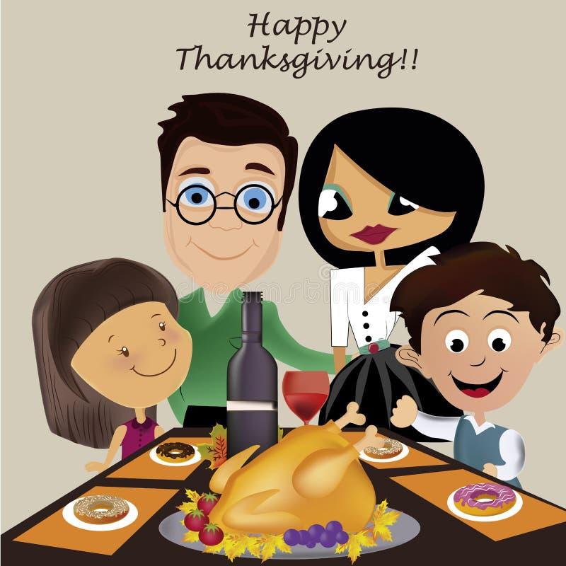 Familia en día de la acción de gracias stock de ilustración