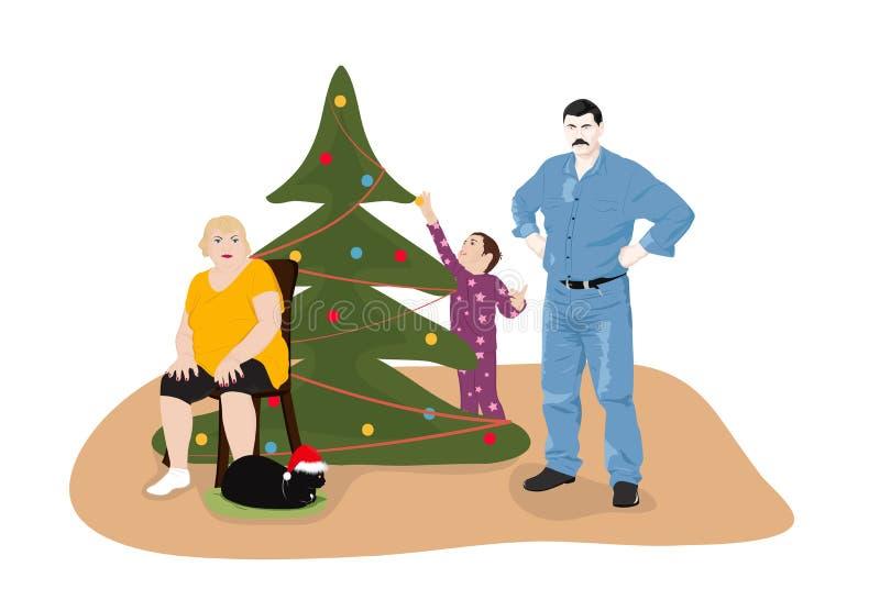Familia en el árbol de navidad stock de ilustración