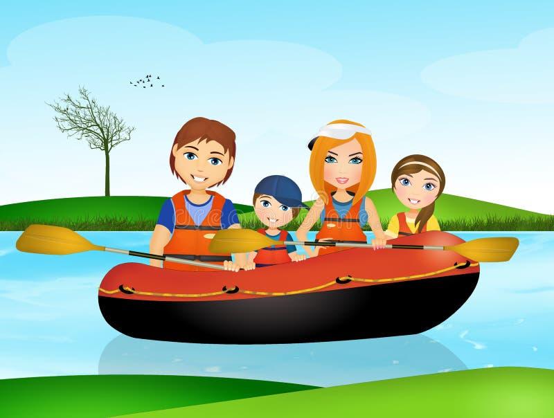 Familia en el bote de goma libre illustration