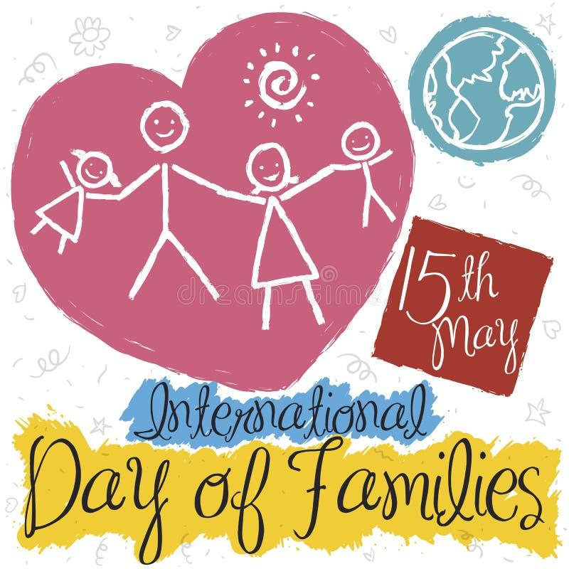 Familia en el estilo del garabato para el día internacional de celebración de familias, ejemplo del vector stock de ilustración