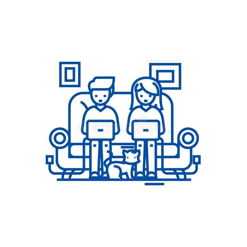 Familia en el funcionamiento del sofá en los ordenadores portátiles con la línea de gato concepto del icono Familia en el funcion ilustración del vector