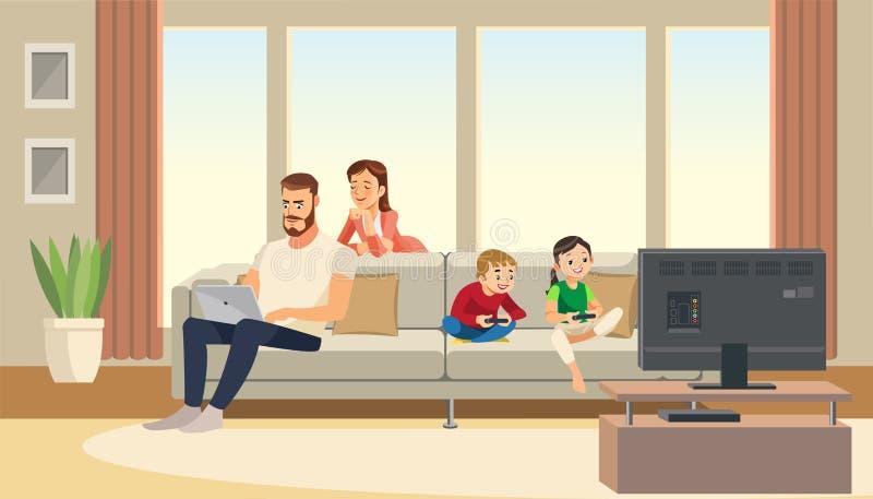 Familia en el país Cuidado de la madre sobre padre niños que juegan la videoconsola Personajes de dibujos animados del vector ilustración del vector