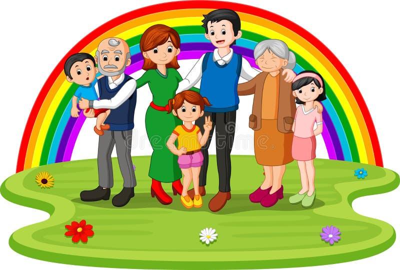 Familia en el parque el día del arco iris ilustración del vector