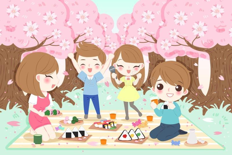 Familia en la comida campestre libre illustration