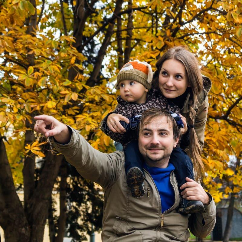 Familia en la demostración de la mano del parque del otoño lejos imagen de archivo libre de regalías